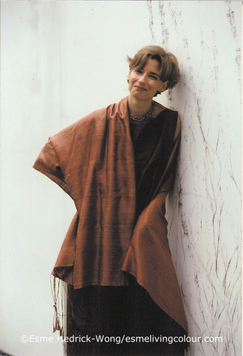 Esme Living Colour naturally dyed hand woven silk shawl